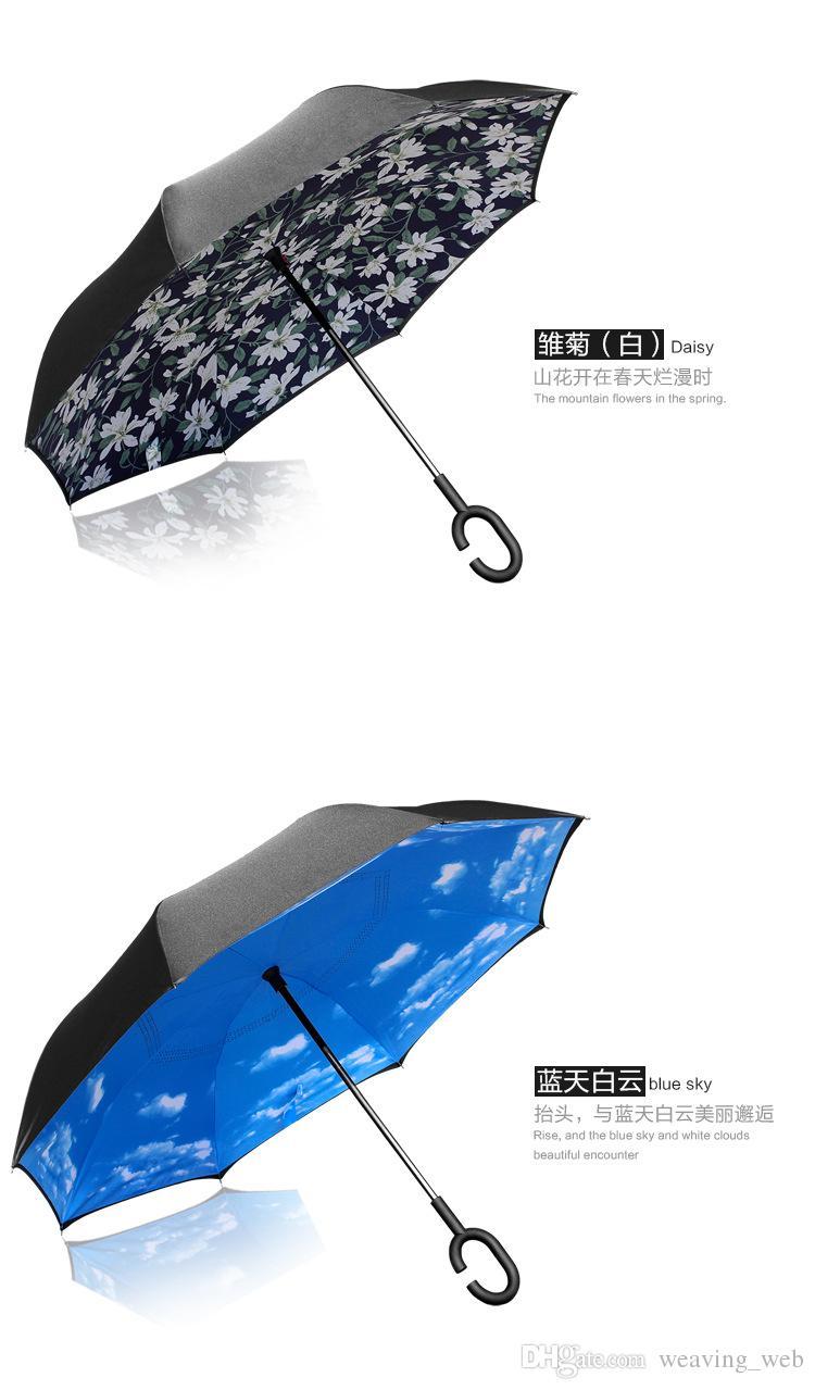 Caliente Moda Doble Capa Creativa Paraguas Invertidos Automotriz especial C Manejar de adentro hacia afuera Invertir a prueba de viento a prueba de rayos ultravioleta Sombrilla DHL
