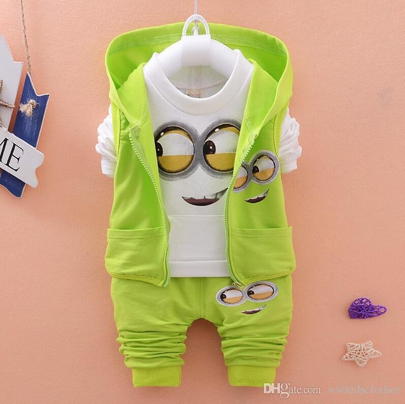 Çocuk Giyim Setleri Sonbahar Giyim Bebek Kız Erkek Takım Elbise Karikatür Çocuk Mont Yelek Pantolon 3 Adet Rahat Takım Elbise Bebek Yenidoğan Giysileri