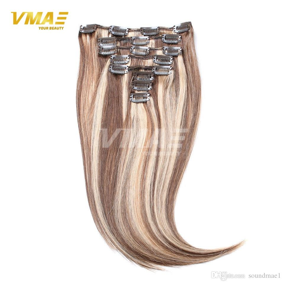 Real Thick 120g Full Head Clip In Hair Extensions Piece Human