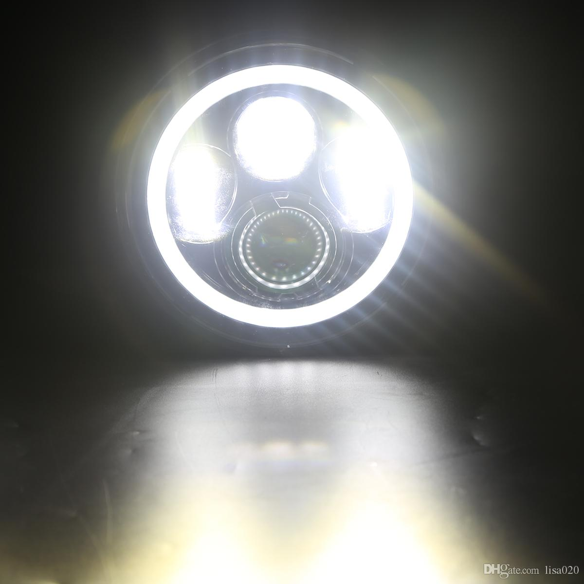 7 Inch Jeep Led Headlamps High Low Beam White Daytime Running Lights Fog Light Plug Angel Eyes The Original Car 2017 New Wholesa Wrangler Online With