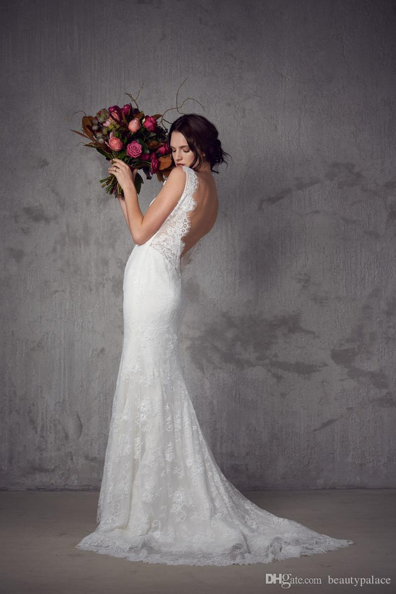 Die meistverkauften Mermaid V-Ausschnitt Spaghetti-Träger Sweep Zug Brautkleider Elfenbein-weiße Tulle-Spitze-Backless Hochzeit Brautkleider