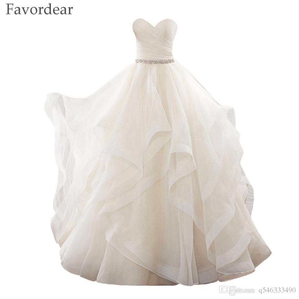 c34f30b252f Favordear Robe De Mariage Vestido De Noiva Sweetheart Lace Up Princess Ball  Gown Ruffles White Ivory Organza Wedding Dress 2017 Online with   143.71 Piece on ...