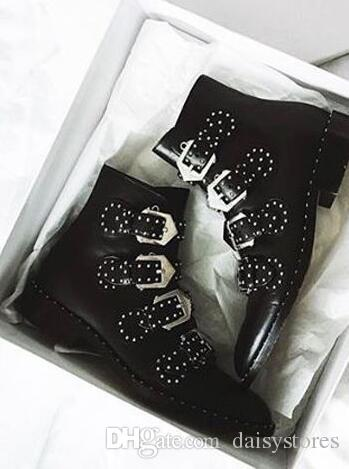 2017 Buckle Embellished Leather Boots High Heels Studded Ankle Boots For Women Booties Four Straps Black Female Autumn Boots