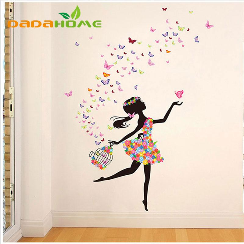 Fairy Wall Art vinyl butterfly fairy dance living room bedroom wall decorations