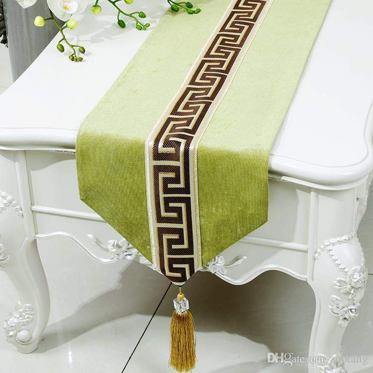 New Patchwork Luxury Velvet Table Runner High End Dining Table Protective Mats European American style Rectangle Table Cloth 200 x 33 cm