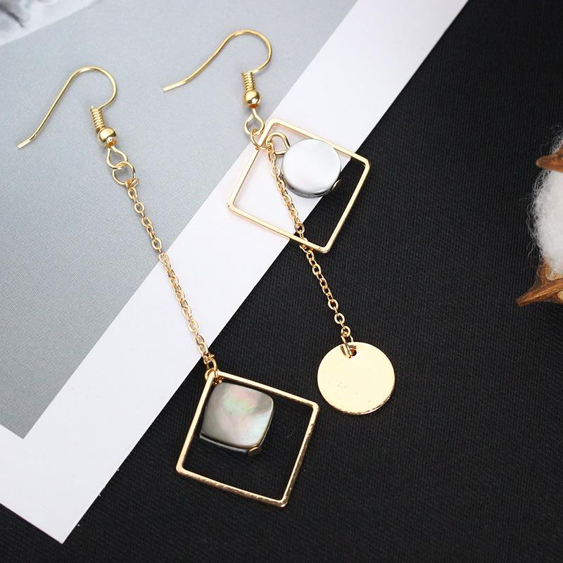 Moda de luxo Banhado A Ouro Brincos Gancho de Orelha de Peixes Geometria Irregular Borlas Concha Natural Quadrado Rodada Pingente Dangle Brinco Lustre