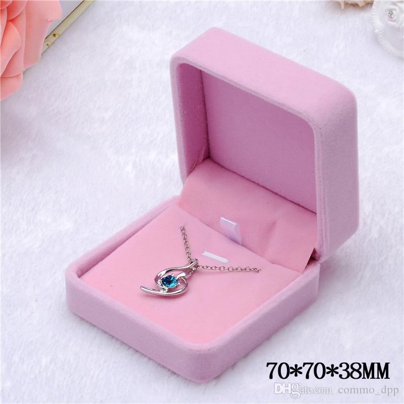 Joyas de moda Cajas Pinkcreamy-Blanco Anillo de terciopelo Pendientes Colgante Collar Pulsera Bangle Clásico Mostrar Lujo Octagonal Caja de regalo Caja
