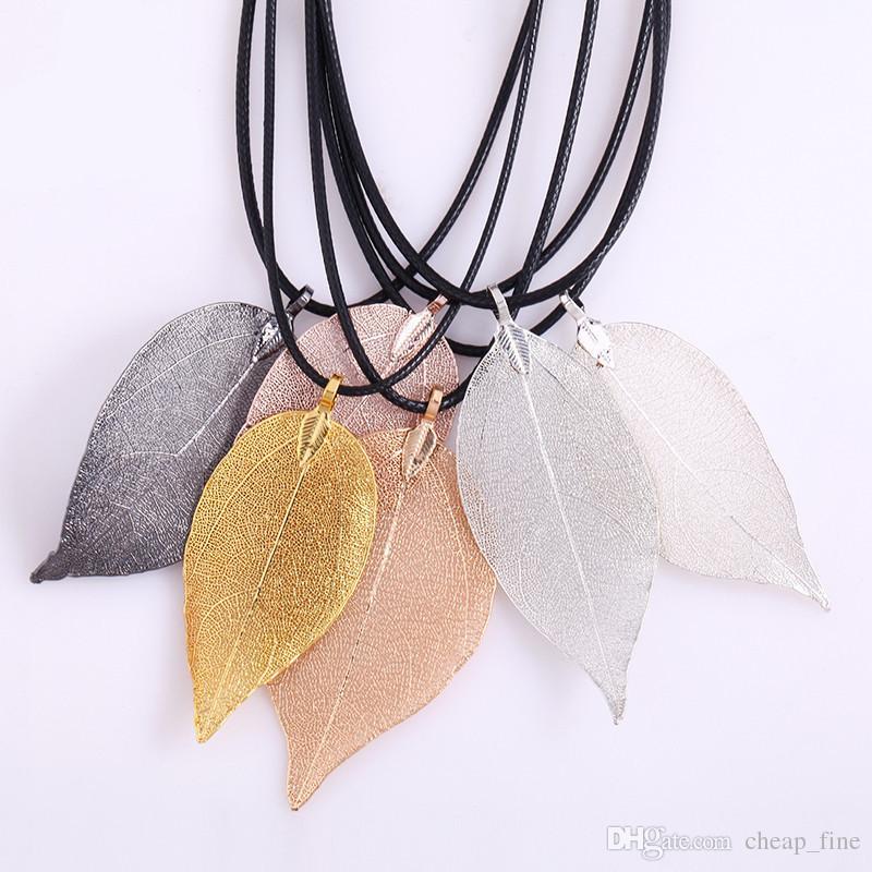 Natürliches echtes Blatt getaucht lange blatt anhänger halskette für frauen vergoldet handgefertigte diy stray verlässt Halsketten