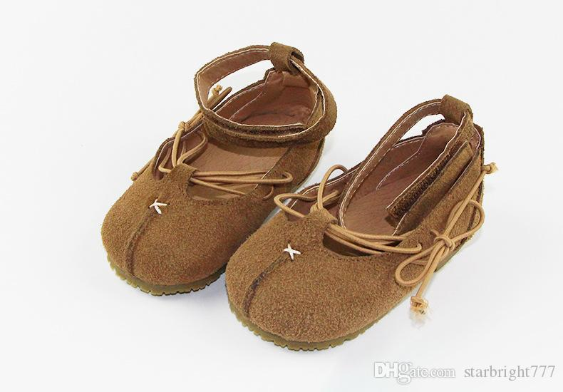 Baby shoes Vintage style girls genuine leather shoes kids comfortable breathable first walking baby girls non-slip princess shoe