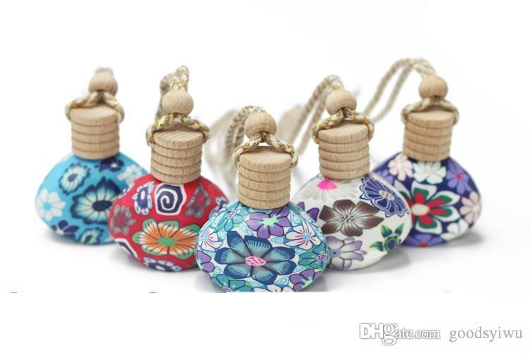 Mixed shapes 15ml clay empty perfume bottle Room Bag Car hang decoration Ceramic essential oil Perfume bottle Hang rope with random colors