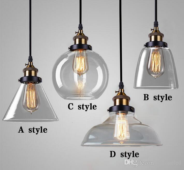 Loft Vintage Single Glass Pendant Lights Led Hanging Light Restaurant Lighting E27 L&s Industrial Lighting Fixture Amber And Transparent L& Pendant ... & Loft Vintage Single Glass Pendant Lights Led Hanging Light ...