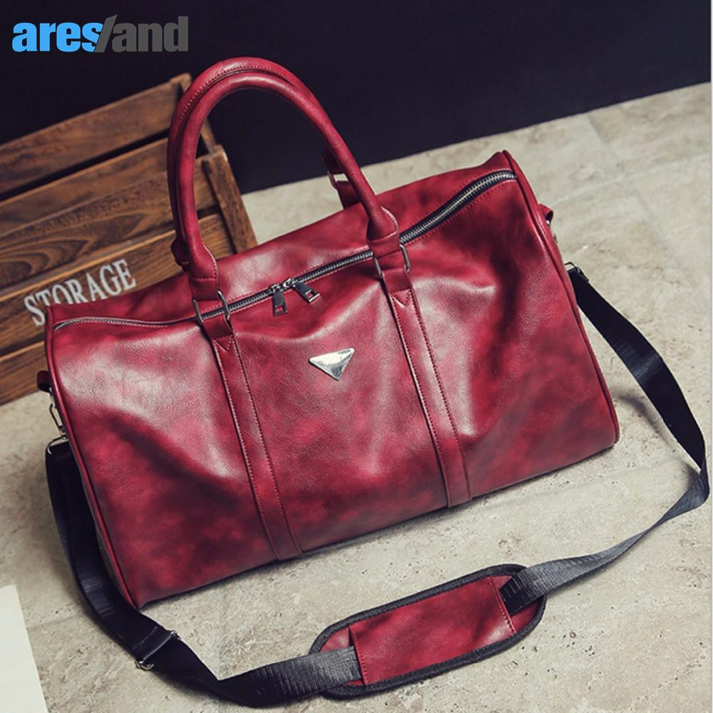 93e0fde4a41 2019 MSFU Sports Bags Gym Bag For Women Men Red Black PU Leather Sport Bag  Tote Duffle Travel Bag Large Space Waterproof Quality From Chen394931608
