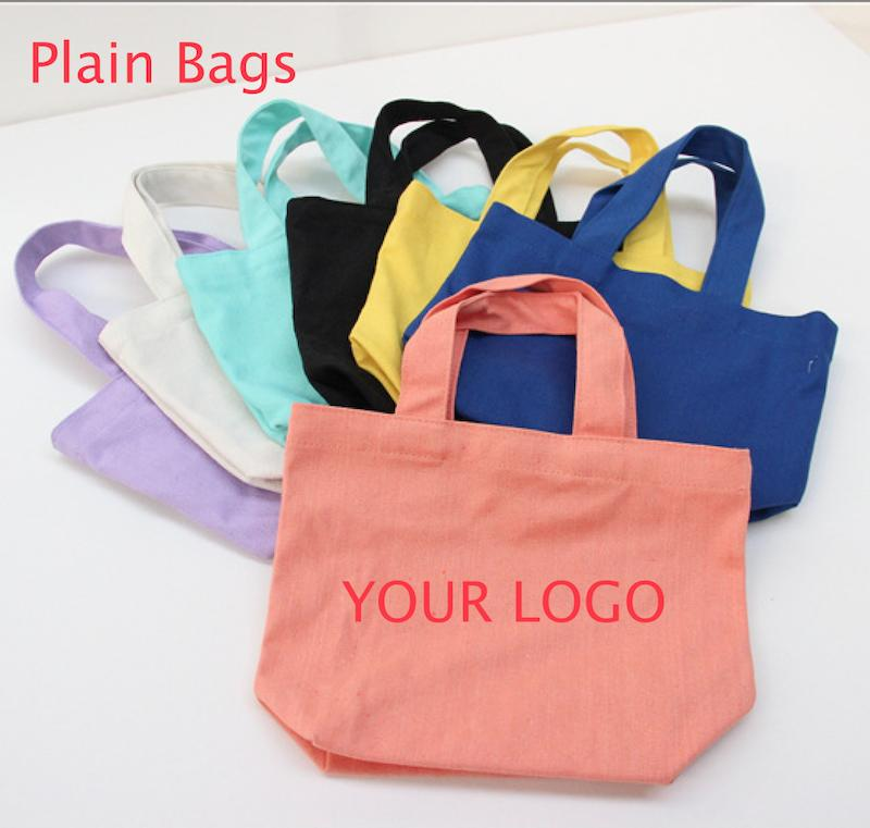 Colorful Plain Small Portable Bento Canvas Tote Bag Blank Pure ...