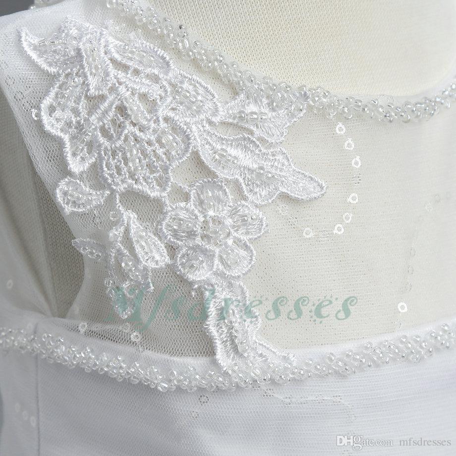 Manicotto della ragazza della ragazza di fiore dell'abito di sfera del manicotto della nuova protezione bianca i matrimoni 2017 vestiti da prima comunione di lunghezza del pavimento dei Sequins le ragazze