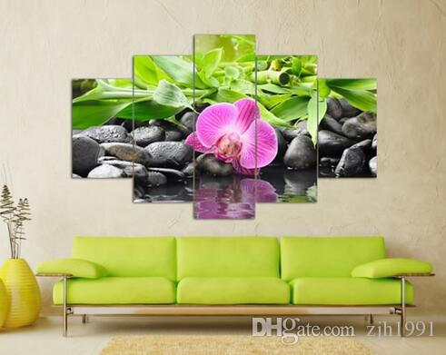 5 Panel Wall Art Botanical Green Feng Shui Orchid Oil Painting On Canvas Quartz crystal Abstract Paintings Pictures Decor