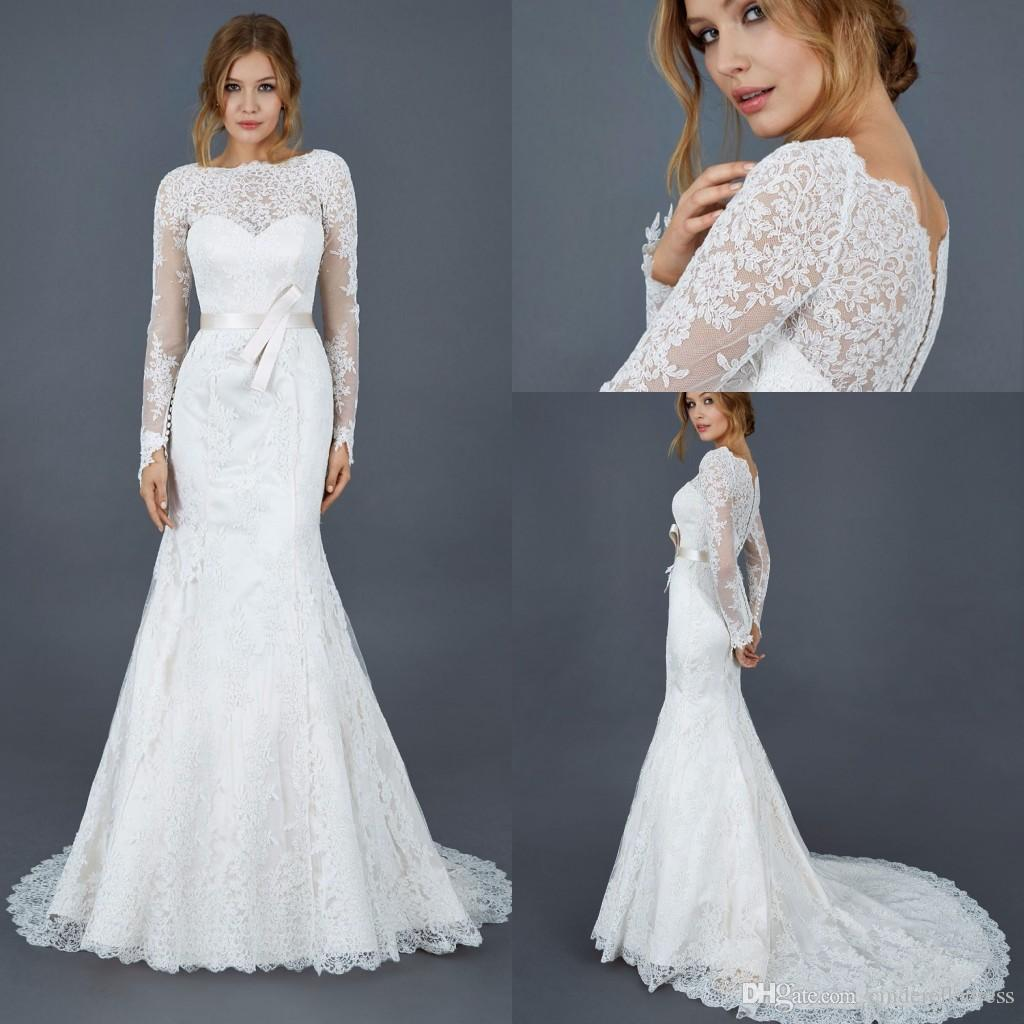 d6dcb5d28946 2017 Elegant Boat Neck Mermaid Wedding Dresses Sheer Full Lace With  Illusion Long Sleeves Covered BUtton Sweep Train Bridal Gowns Wedding Style  Dresses ...