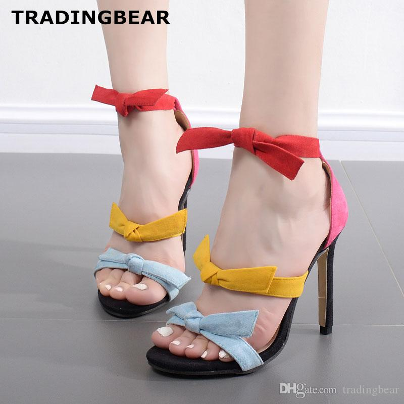 a1f5b6c1f22 Sexy ladies sandals rainbow colorful bowtie ankle strap high heels dress  shoes Size 35 To 40