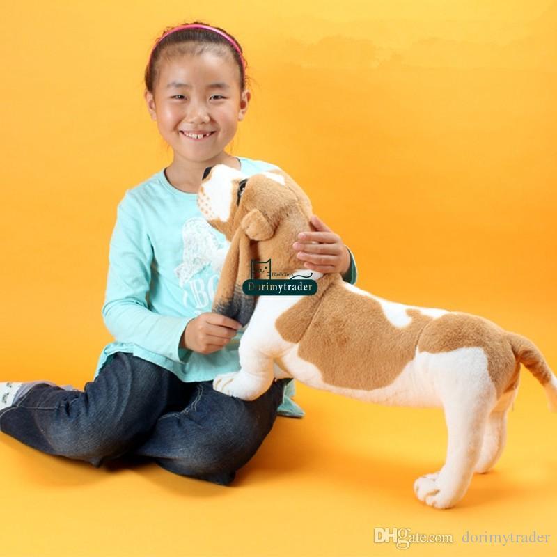 Dorimytrader 24'' / 60cm Giant Stuffed Soft Plush Emulational Animal Basset Dog Toy Great Baby Doll Gift DY60298
