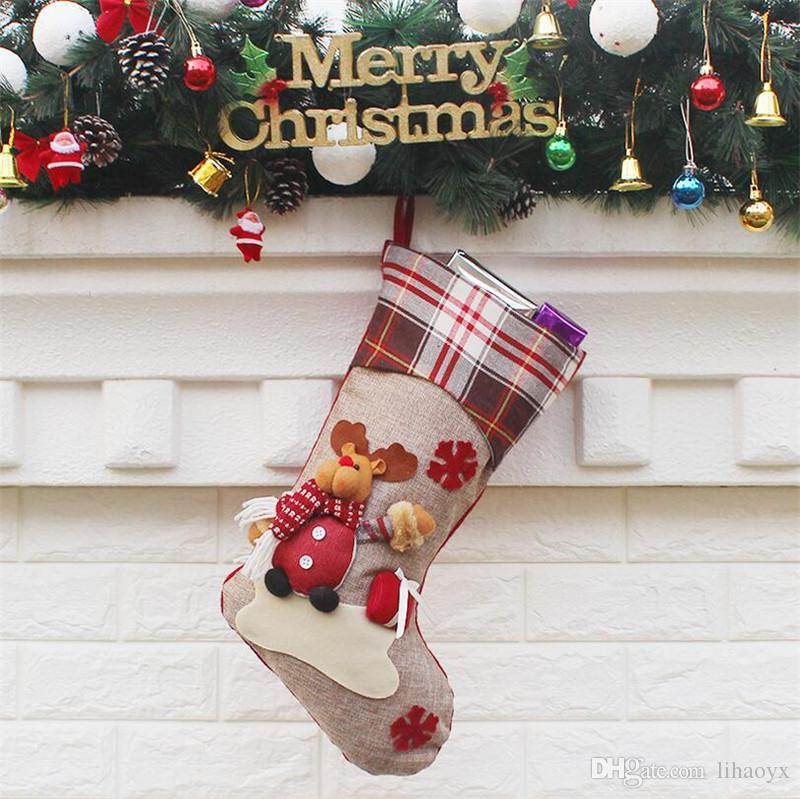 3 Styles New Arrival 2017 Christmas Stockings Decor Ornament Party Decorations Santa Christmas Stocking Candy Socks Bags Xmas Gifts Bag DHL