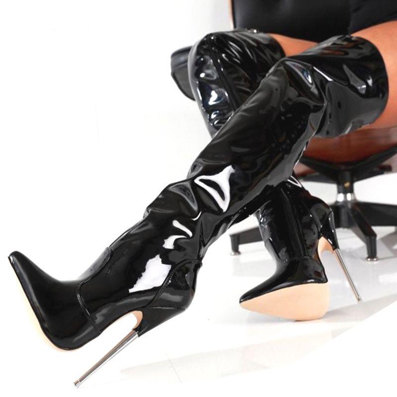 2017 высокие сапоги острым носом дамы партия загрузки плюс размер бедра высокие сапоги молния лакированная кожа COS дешевые скромные обувь