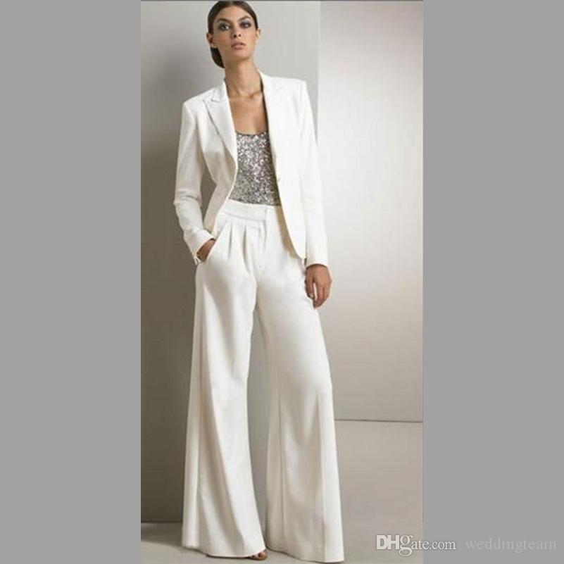 Modern Beyaz Üç Adet Anne Gelin Pantolon Takım Elbise Gümüş Payetli Düğün Konuk Için Elbise Artı Boyutu Elbiseler Ile ceketler
