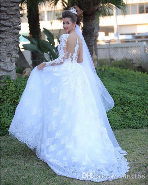 Custom Made Mütevazı Dantel Gelinlik 2017 Romantik Sheer Geri Uzun Kollu Prenses Gelin Önlükler Artı Boyutu vestido de noiva