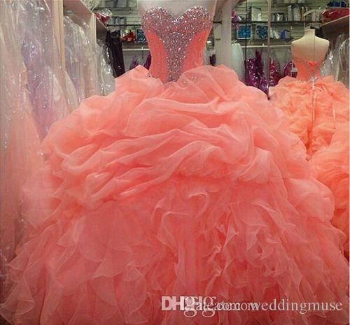 2018 Coral Quinceanera Dresses Floral Beaded Sweetheart Princess Ball Gown Sweet 16 Organza Pleated Princess Prom Dress Evening Gowns BO6714