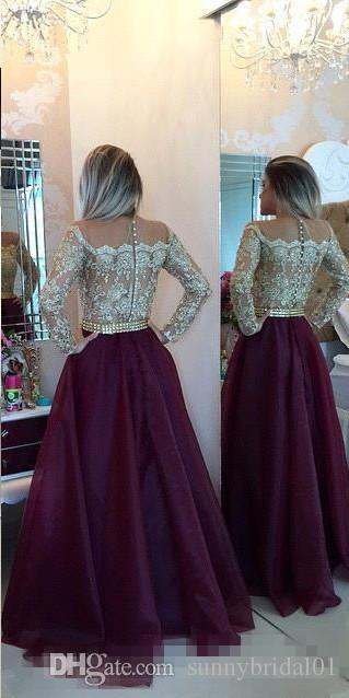 2017 Burgundy Sheer Long Sleeves Lace Prom Dresses Applique Beaded Top Beads Sash Backless Long Formal Evening Party Gowns With Buttons