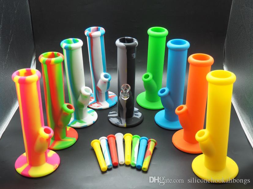 MOQ = riche couleur silicone droite bang 10 '' Portable incassable Bongs Shisha Narguilé Silicone Fumer De L'eau Pipes Bong Livraison Gratuite