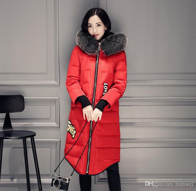 فراء ثعلب حقيقي معطف الشتاء النساء ستر السيدات الأبيض بطة أسفل سترة الثلج الملابس الدافئة HoodedThicker أبلى سترة واقية 2017 حجم أكبر