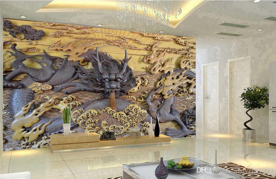 3D fotoğraf kağıdı özel 3d duvar resimleri Ejderha Yaş woodcarving TV arka plan 3d oturma odası duvar dekor