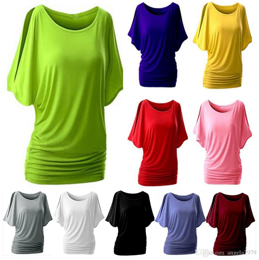8339f076751 Summer Spring Women O Neck T Shirt Short Sleeve Crew Neck Cut Out Off  Shoulder Top Plug Size Loose Casual Simple Loose Tunic Top Urban T Shirts  Irish T ...