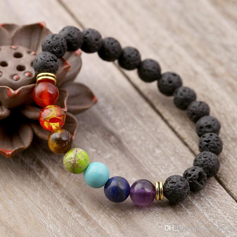 Essential Oils Diffuser Bracelet 7 Chakra 8MM Yoga Beads Bangle Elastic Natural Lava Stone Bracelets Hand Strings Jewelry Kimter-B124S FZ