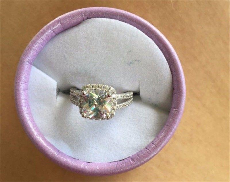 YHAMNI Joyería de Moda Original de Plata de Ley 925 Anillos de Boda para mujeres Con 8mm CZ Anillo de Compromiso de Diamantes Al Por Mayor J29HG