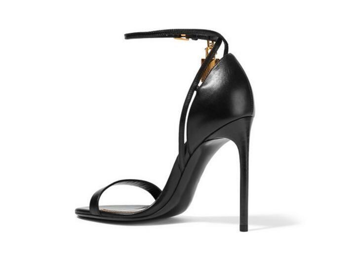 2017 summer gladiator sandals black leather high heels ankle strap party shoes open toe celebrity shoes gold lock&key sandal