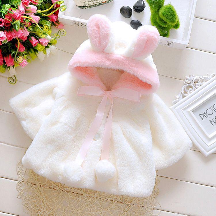 Baby Girls Rabbit Jackets Winter Faux Fur Overcoat For Girls Wool Cloak Sweet Kids Ears Hooded Outerwear Cartoon Kids Coat