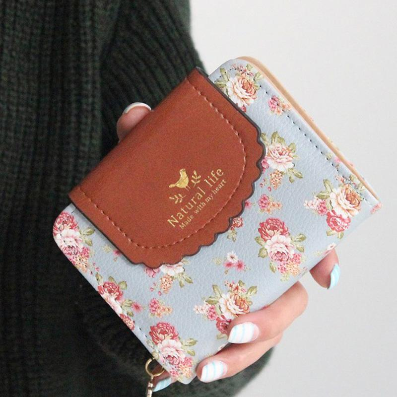 Wholesale Japan S Rural Style Women Wallets Floral Print Sweet Lady