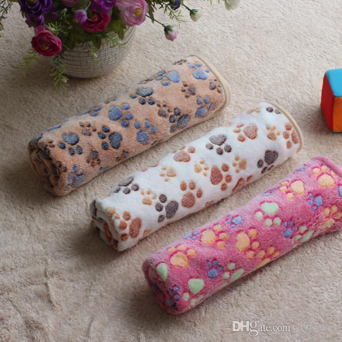 Soft Warm Paw Print Small Pet Dog Cat Blankets Towel Bed Mat Absorbent Cleaning Drying Bath Towel Pet Products 3 Sizes