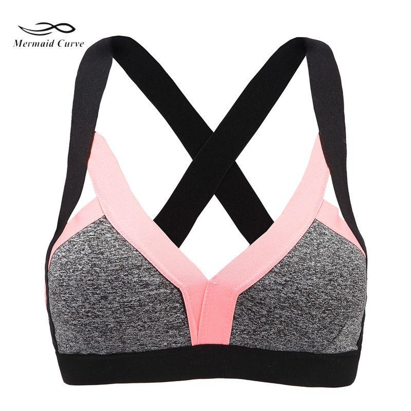 38eb26f14a 2019 Mermaid Curve Sexy Bralette Sport Bra Sportswear Fitness Cross  Backless Yoga Bra Patchwork Women Tank Crop Tops From Htzyhstore