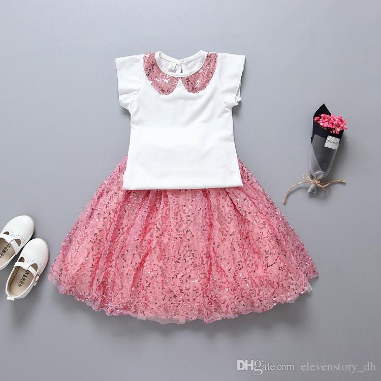 afdef10239 Compre Conjuntos De Lentejuelas Rosadas Para Niñas Ropa De Baile De Verano  Top + Falda