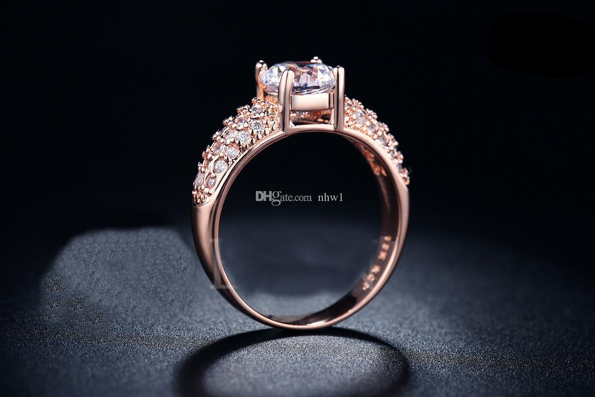 Brand Wedding Rings For Women Silver Gold Filled Luxury Diamond Zircon Engagement Rings Jewelry Accessories Gift