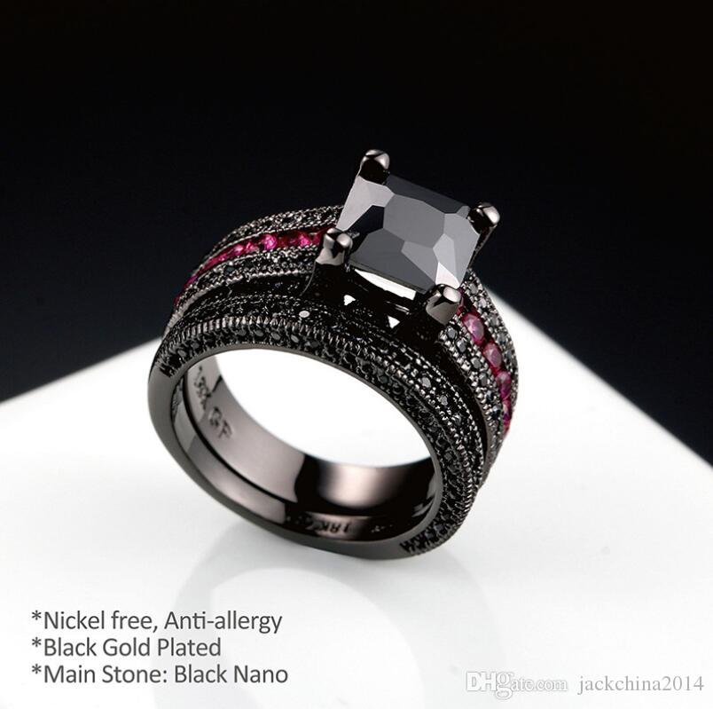 choucong Hot His and Her Couple Set Vintage Jewelry 18K Black Gold Filled Princess Cut Sapphie Pietre preziose Donne Wedding Bridal Ring regalo
