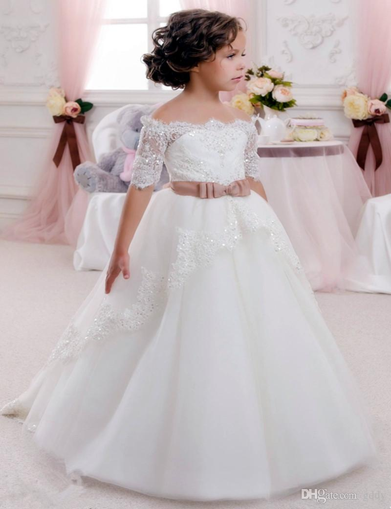 Lace Beaded Cheap Flower Girl Dresses Tulle Ball Gown Crew Ball Gown Tulle Child Dresses Beautiful Flower Girl Wedding Dresses