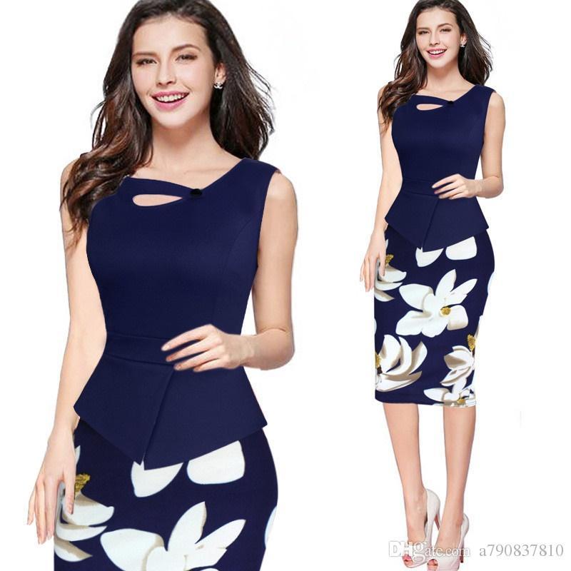 Les femmes robe robe d'été 2017 Nouvel arrivage Imprimer Bouton floral Patchwork solide travail Casual manches bodycon Printemps bureau d'été Robe C017