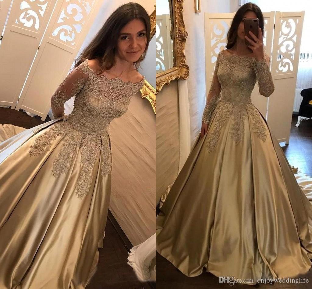 10f2dbcfef1a Dark Champagne Off The Shoulder Satin Prom Dresses 2018 Sparkly Vintage  Sheer Long Sleeves Lace Appliques Beaded Formal Evening Gowns BA7165 Plus Prom  Dress ...