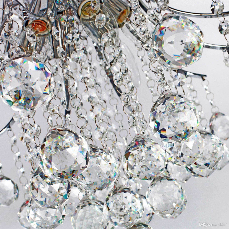 Lampadario moderno a cristallo contemporaneo con 6 luci, lampada a sospensione Plafoniera moderna camera da letto, soggiorno, sala da pranzo, corridoio