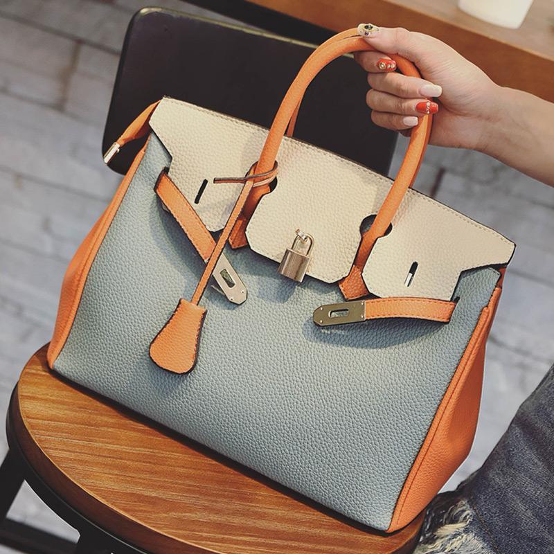 c086ad9888 Wholesale Famous Brand Women Handbags Ladies Luxury Shoulder Leather Bag  Top Handle Bags Female Bolsa Handbag Tote Bag Hit Colour 2S8093 Leather Bags  For ...