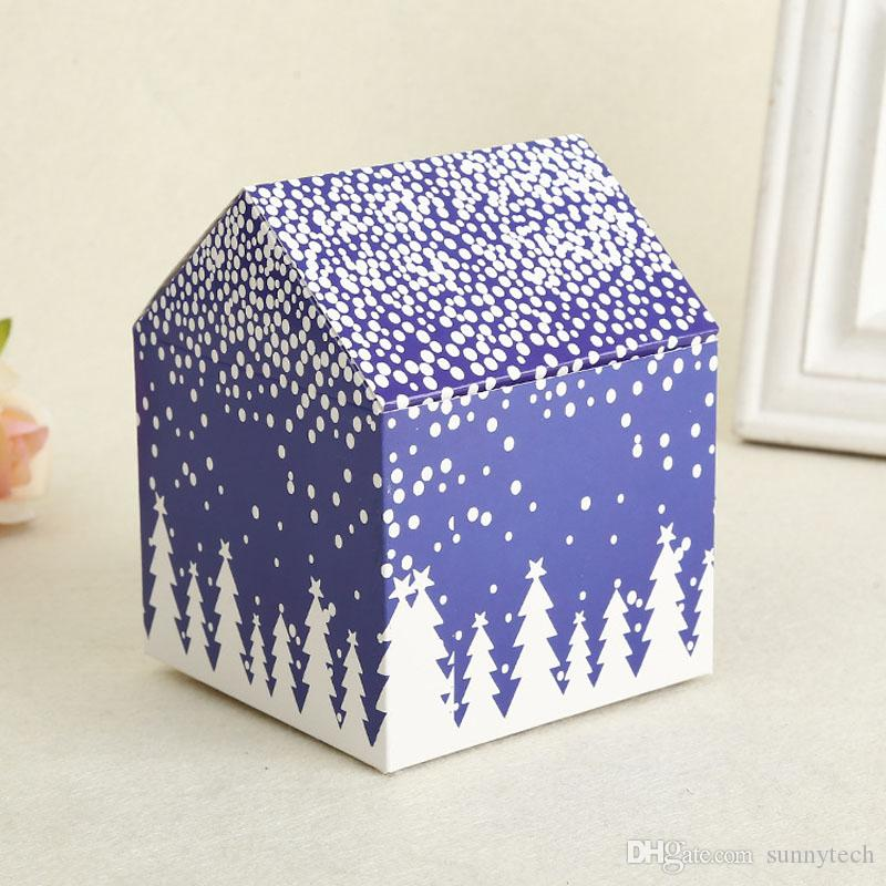 Confezione regalo Scatola rossa Biscotti con fiocchi di neve Biscottiera Scatola dolci Vigilia di Natale Scatole di mele Decorazione feste ZA4228 all'ingrosso