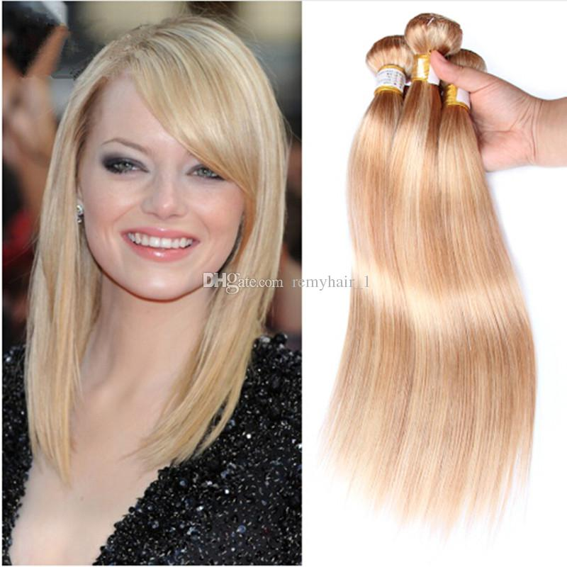 Brazilian Human Hair Bundles Weaves Silky Straight 27 Honey Blonde