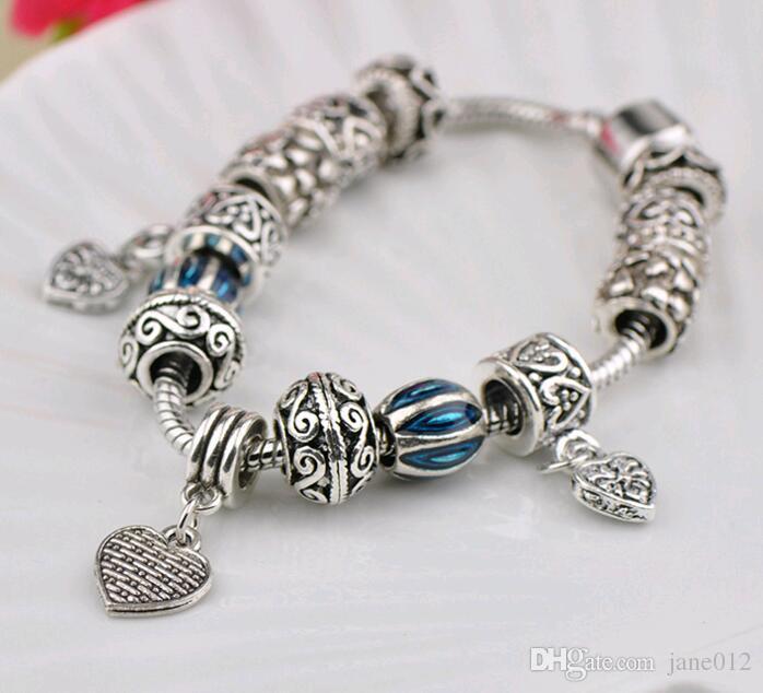 Lampwork Boncuk Boncuklu Bilezik Moda Avrupa renkli sır Mükemmel Maç Kalp Şekilli kolye Charm Bilezik 17-20 cm